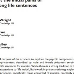 Suppression, denial, sublimation: Defending against the initial pains of very long life sentences